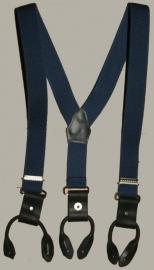 Bretels - blauw met zwarte leertjes - maat baby/kleuter - EL