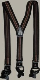 Bretels -  bruin/cognac gestreept met zwarte leertjes - maat baby/kleuter - EL