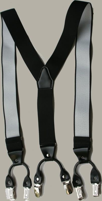 Bretels - zwart - luxe leertjes en clip - maat 134 t/m (kleine) volwassen maat