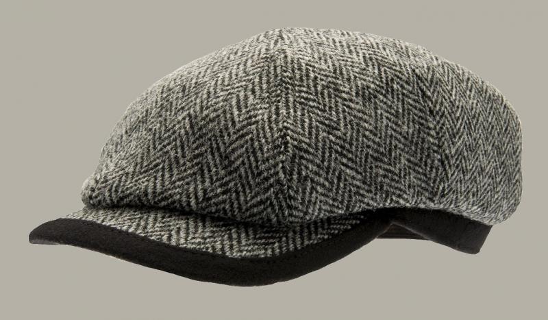 Pet `George Harris Tweed Black` - newsboy cap - grijs wollen visgraat - maat 58 - CTH Ericson