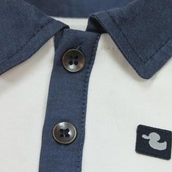 Ducky Beau longsleeve polo - ecru met donkerblauw - maat 56 - DB04