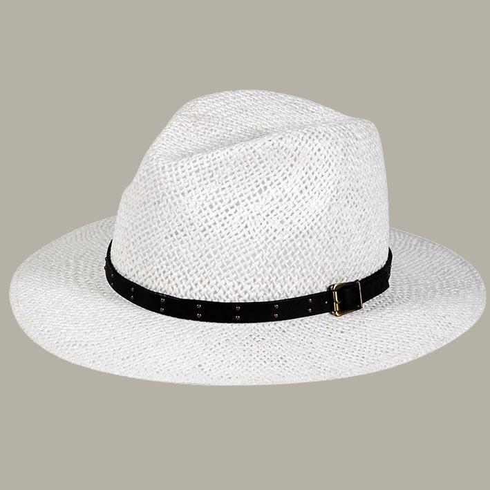 Fedora hoed 'Alexander' wit met zwart lint - maat 59/61/63 - FI