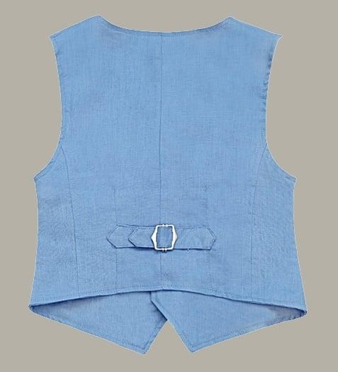 Little Linens 'Heritage Blue' blauw linnen gilet - maat 146/152 - LL52