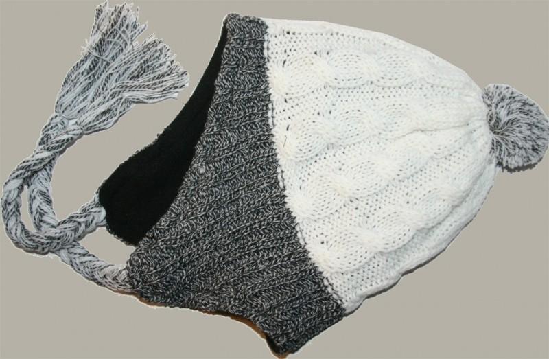 Muts `Fergus` (chullo) - wit /grijs melee - maat 52-55 - BN108-117