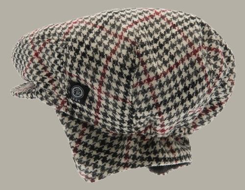 Pet 'Carl Dogtooth Black-Wine' - newsboy cap met oorflappen - zwart rood pied-de-poule - maat 46/48/52 - CTH Mini