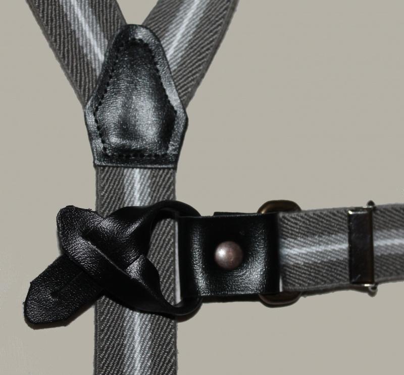 Bretels -  taupe/zand/wit gestreept met zwarte leertjes - maat baby/kleuter - EL