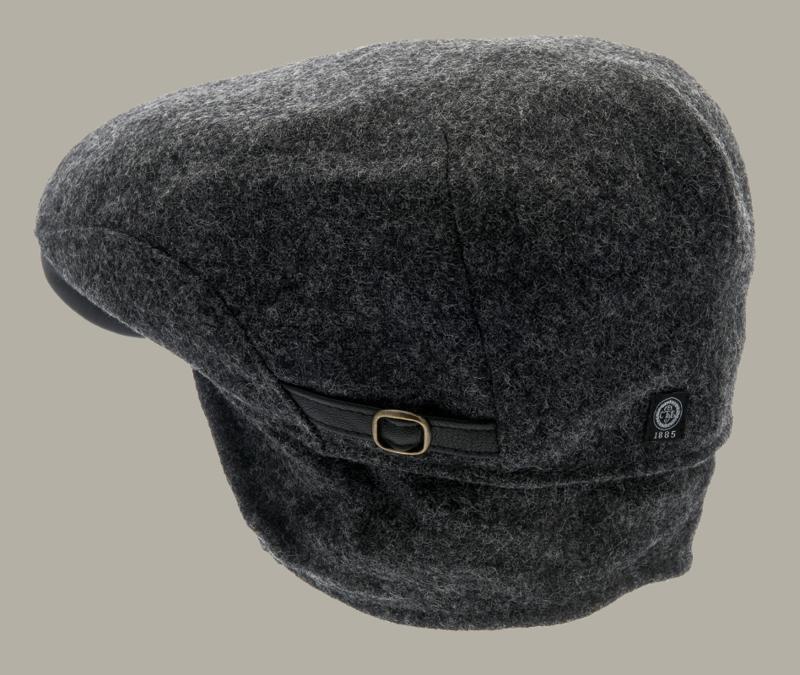 Pet `Ernst Moon Shetland Graphite` - flat-cap - grijze wollen pet - maat 58/62 - CTH Ericson