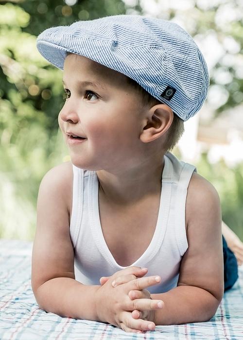 Pet 'Jens' Seersucker Blue - flat cap - blauw gestreept - maat 48-50 - CTH Mini
