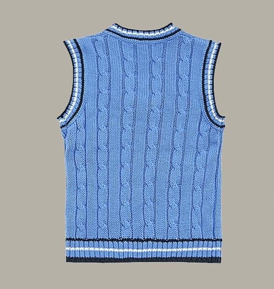 Little Linens katoenen spencer 'Heritage Blue' met bies - maat 110 - LL53