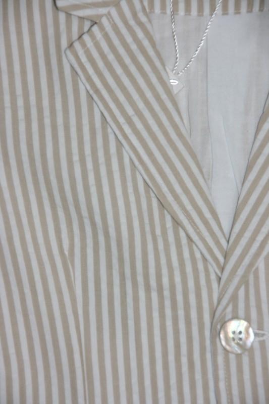 Little Linens wit/zand gestreept colbert - `seersucker` katoen - maat 110/116 - LL31
