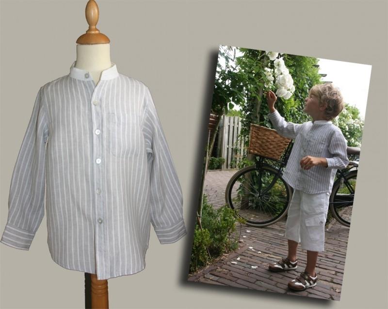 Little Linens lichtgrijs/wit gestreept `granddad` overhemd - maat 146 - LL02
