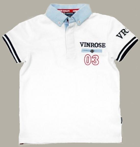 Vinrose polo `Garner` - wit/blauw - maat 98/104 - VR33