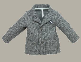 Ducky Beau blazer 'Antra' - antraciet tweed visgraat - maat 62 - DB01