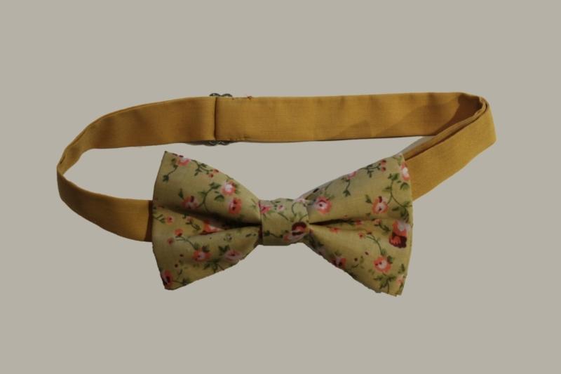 Bow-Tie 'Flower' Vintage Pastel  - vlinderstrik - volwassen maat