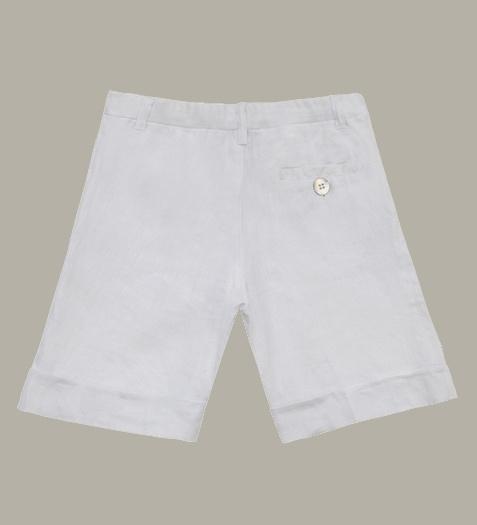 Little Linens wit linnen bermuda shorts - maat 146/152 - LL45