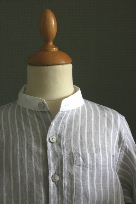 Little Linens lichtgrijs/wit gestreept `granddad` overhemd - maat 92 - LL02