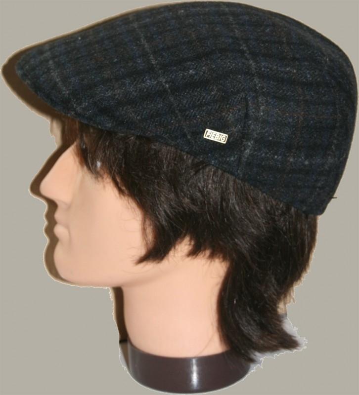 Pet `Heynric` - flat-cap - blauw wollen geruit - maat 55/56 - FI
