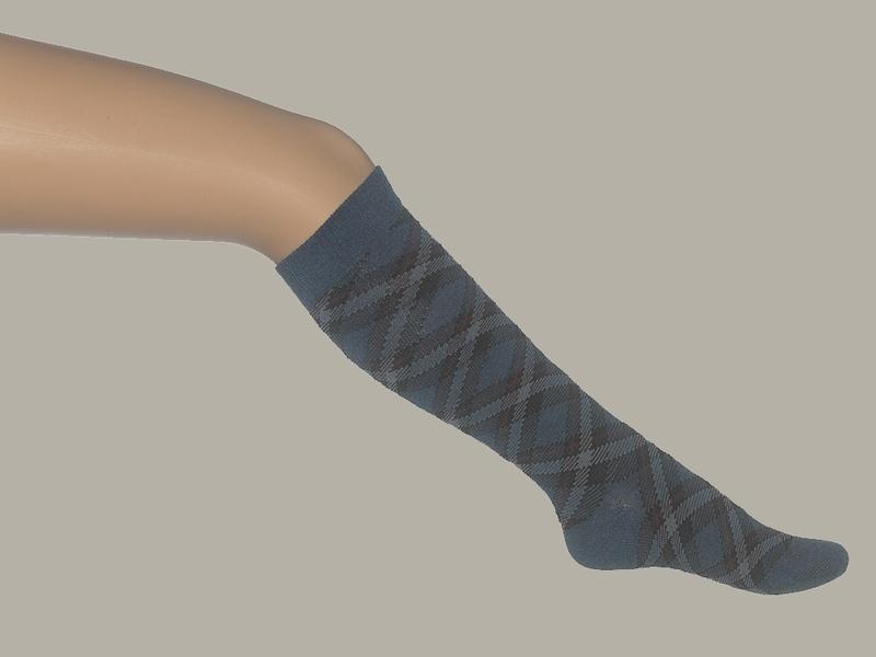Bonnie Doon kniekous `Plaid Checks` blauw geruit - maat 31 t/m 34 - BD16