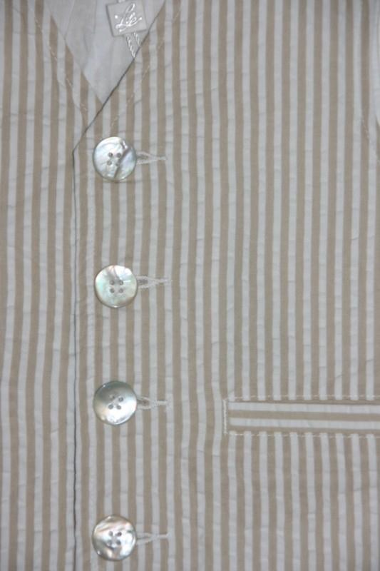 Little Linens wit/zand gestreept gilet - `seersucker` katoen - maat 134 - LL30