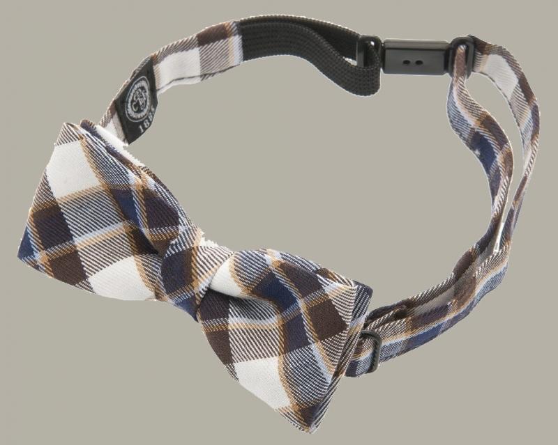 Bow-Tie 'Knut Jr.' Flannel Blue/Brown - vlinderstrik - CTH Mini