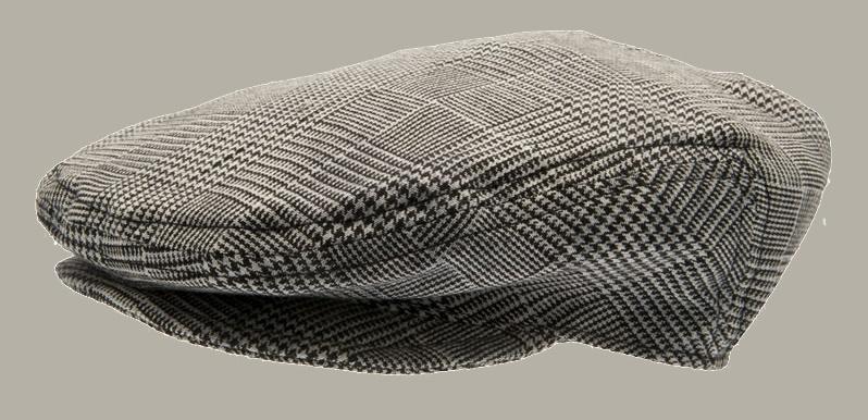 Pet `Carl Jr.` Glencheck Black - flat-cap - grijs geruit - maat 46 - CTH Mini