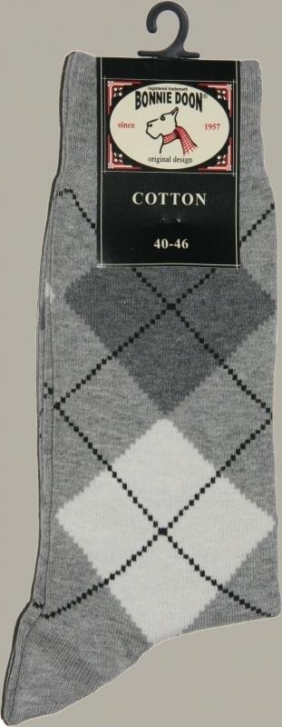 Bonnie Doon sok `Argyle` wit/lichtgrijs - maat 40-46 - BD16