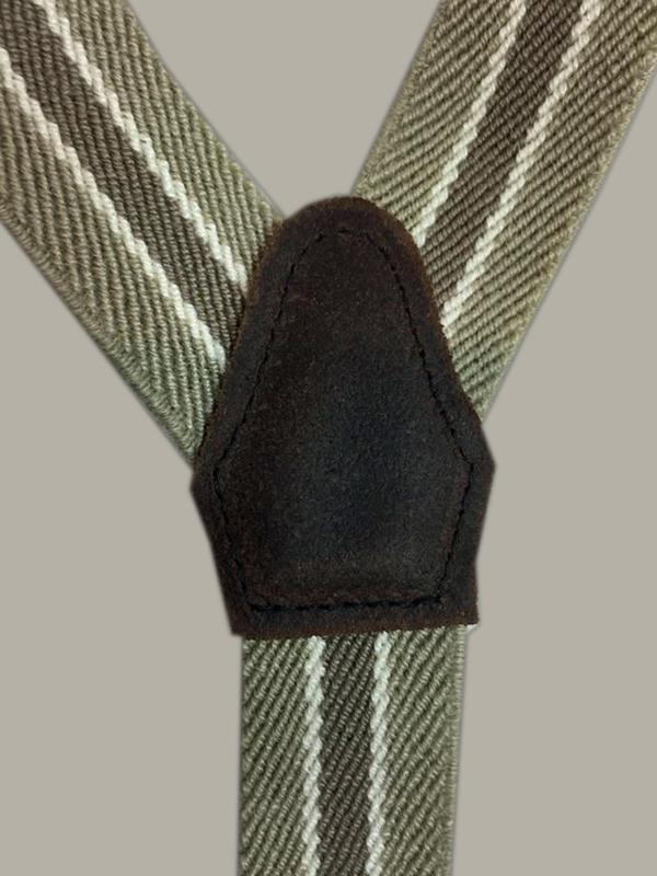 Bretels 'Ciske' - bruin/zand/ecru gestreept met bruine leertjes - maat baby (1,5 - 2,5 jr.) - DF