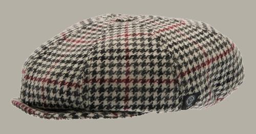 Pet 'Theodor Dogtooth Black-Wine' - newsboy cap met oorflappen - zwart rood pied-de-poule - maat 46/48/50/52/54/56 - CTH Mini