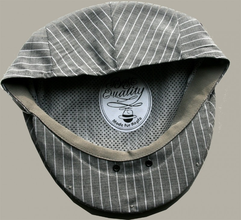 Pet `Sibbe` - flat-cap - beige/grijs met witte streep  - maat 58 - FI