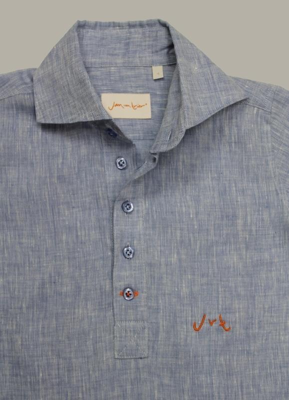 Jan van Trier linnen granddad hemd Beach - jeansblauw - maat 128 - JT09