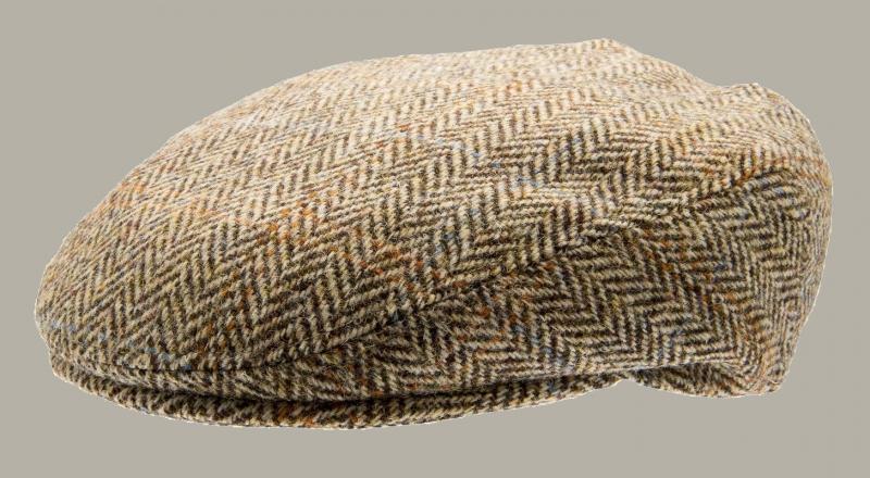 Pet 'Philip Harris Tweed Camel' - flat-cap bruin/zand - visgraat wollen - maat 62 - CTH Mini