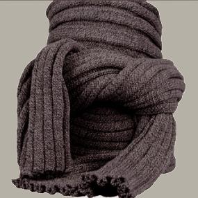 Sjaal 'Owen' - effen donkerbruin / uni bruin - FI