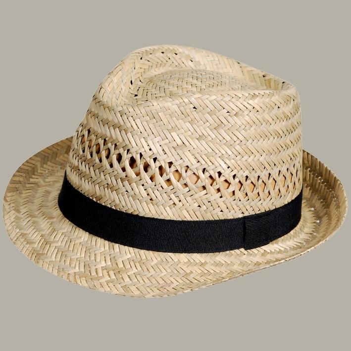 Fedora hoed 'Hugo' Natural Straw met zwart lint - maat 61 - FI