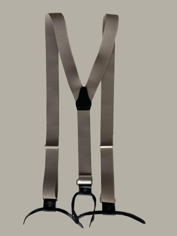Bretels - lichtbruin/ beige/taupe met zwarte leertjes - maat 134 t/m volwassen maat