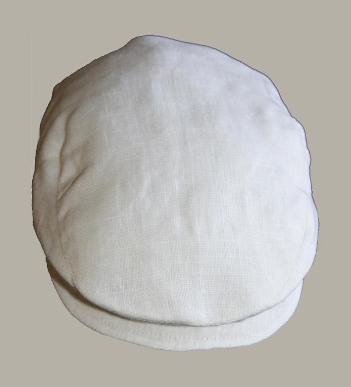 Pet  'Jonas' - off-white linnen newborn baby flat-cap - maat 40-42 - ClassyBoy