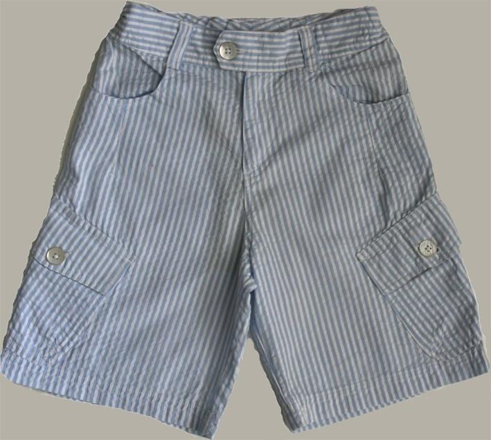 Little Linens wit/lichtblauw gestreepte bermuda - `seersucker` katoen - maat 122/128 - LL26