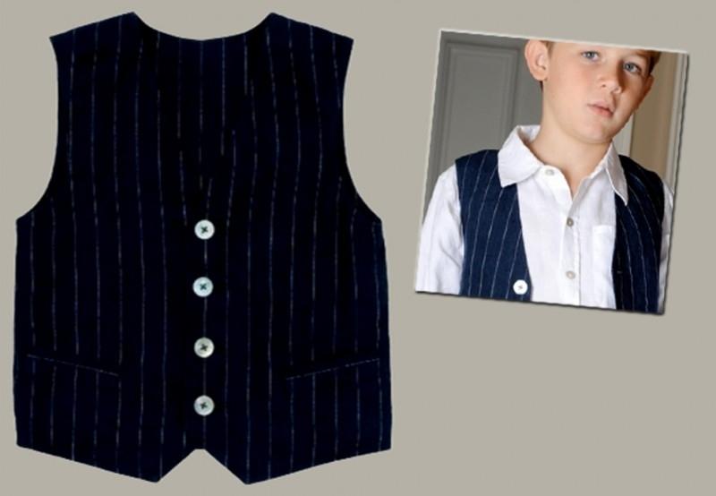 Little Linens donkerblauw linnen krijtstreep gilet - maat 98/104 - LL06