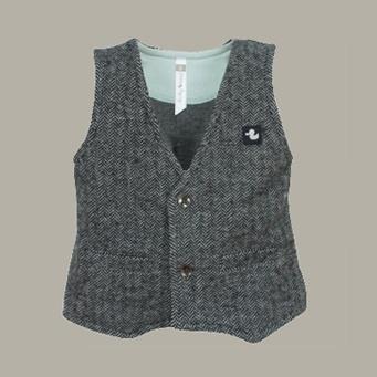 Ducky Beau gilet 'Antra' - antraciet tweed visgraat - maat 68 - DB02