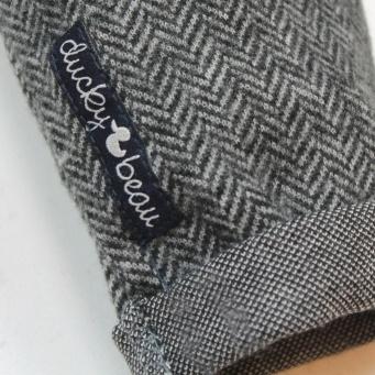 Ducky Beau pantalon  'Antra' - antraciet tweed visgraat - maat 62 - DB03