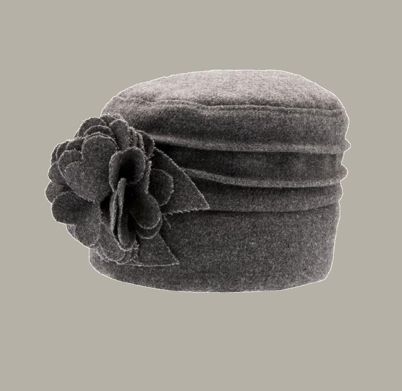 Dophoedje 'Becca Solida Grey' - grijs tweed hoedje voor meisjes - maat 48/52/56 CTH Mini
