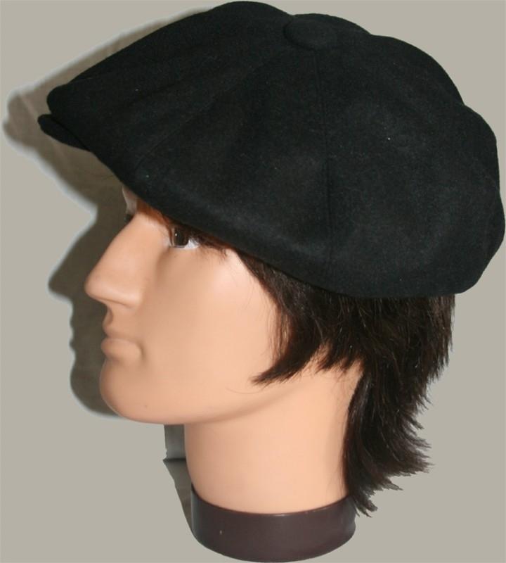 Pet `Bartje` - newsboy cap - zwart wollen - maat 60/63 - FP/PE