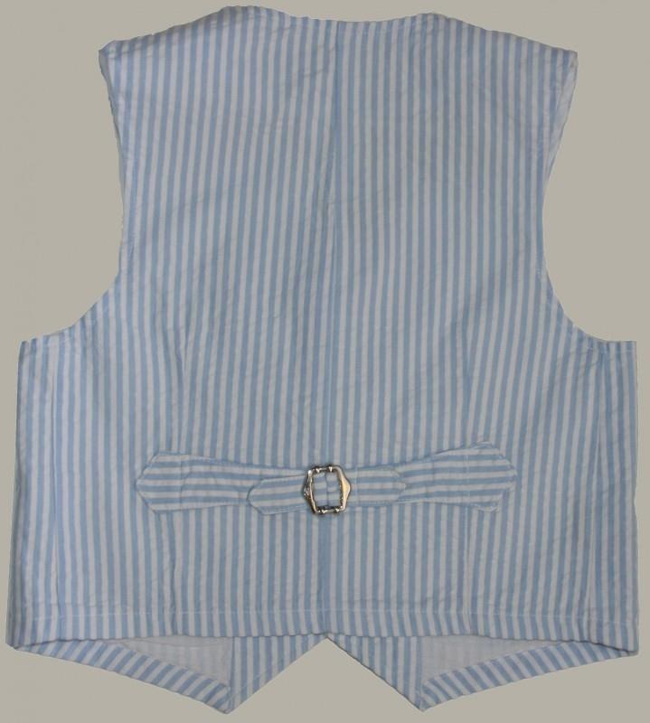 Little Linens wit/lichtblauw gestreept gilet - `seersucker` katoen - maat 122/128 - LL27