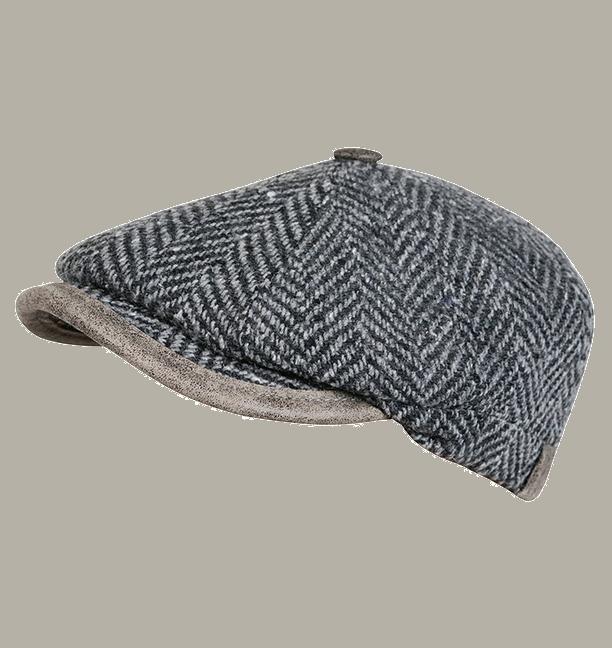 Pet `Elias` - newsboy cap - grijs wollen visgraat - maat 55/57 - FI