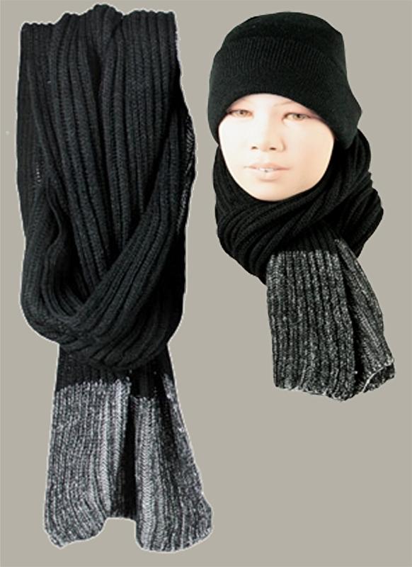 Sjaal `Wijnand` - zwart mêlee - maat kind&volwassen - BN