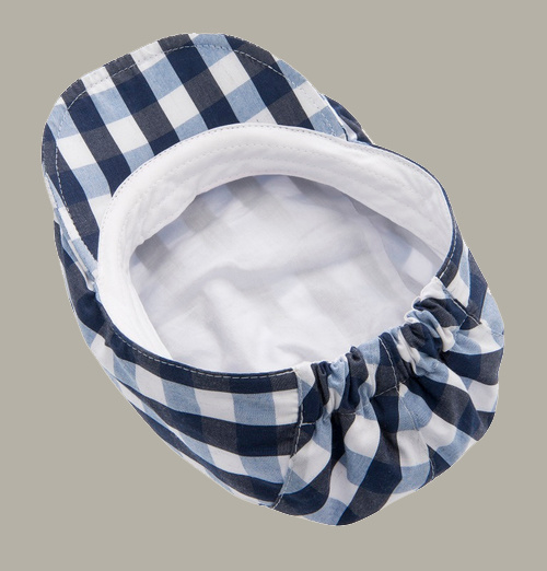 Pet 'Jens' Gingham Check Blue - flat cap - blauw geruit - maat 48-50/52-54 - CTH Mini