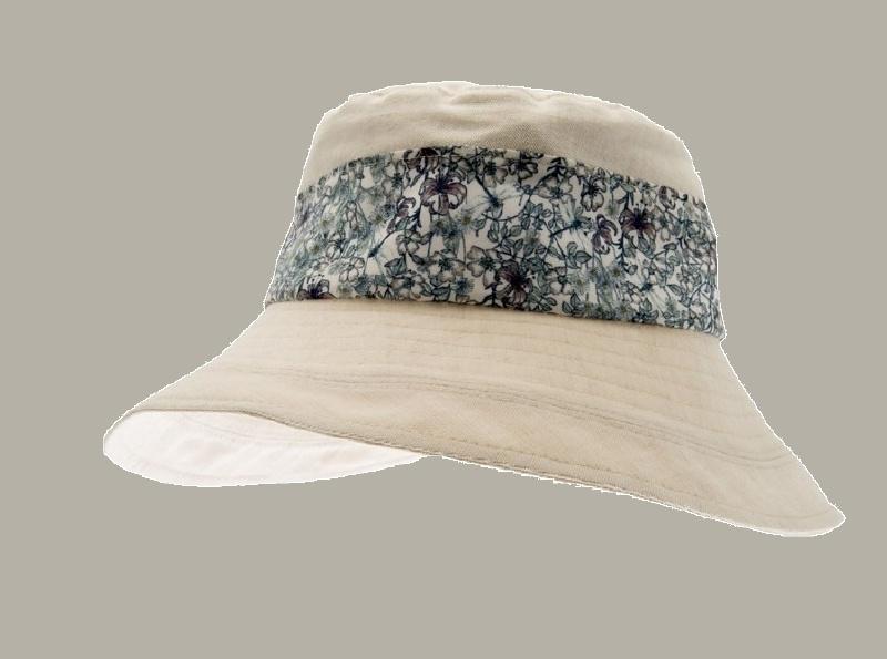 Hoedje 'Eve' - crème gebloemd katoenen hoedje voor meisjes - maat 46/48/52 - CTH Mini