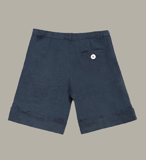 Little Linens 'Midnight Navy' donkerblauw linnen bermuda shorts - maat 146/152 - LL46