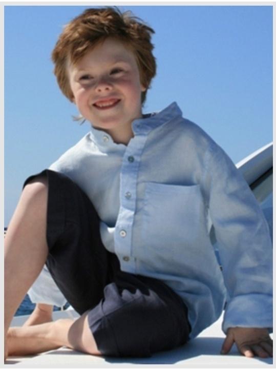 Little Linens blauw linnen overhemd - maat 74 - LL33