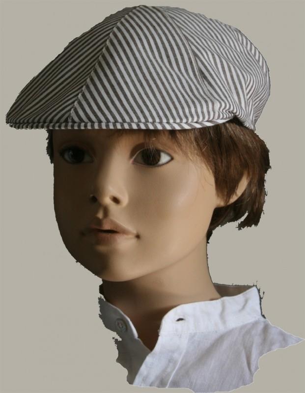 Pet `Frank` - flat-cap - taupe/wit gestreept - maat 56/58 - FI