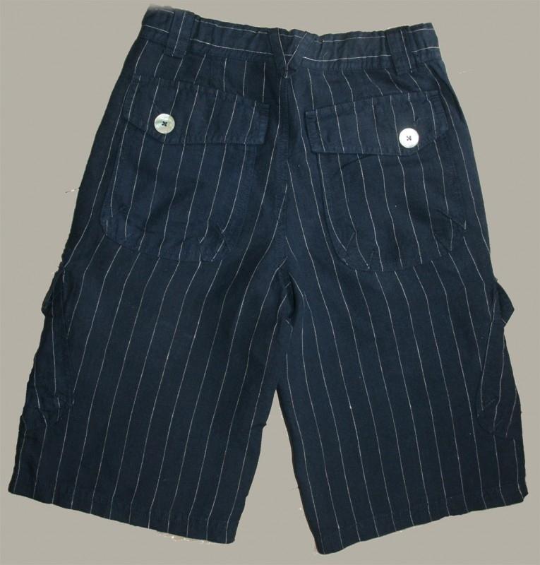 Little Linens donkerblauwe linnen krijtstreep bermuda - maat 170 - LL11
